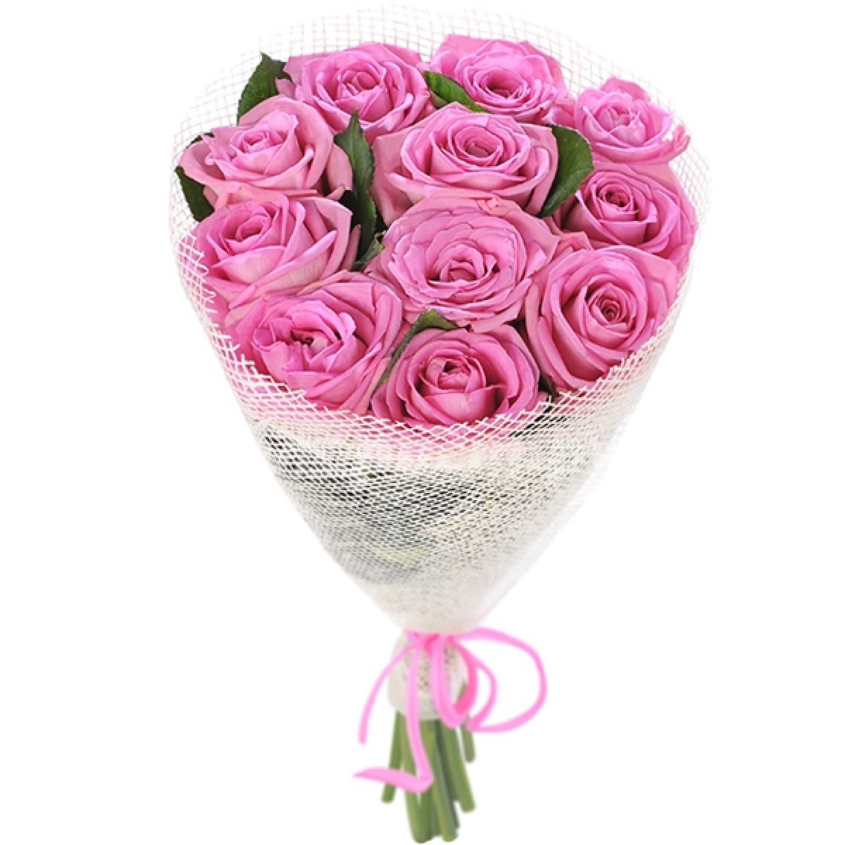 Букеты роз из 11 розовых, невесты фисташкового цвета